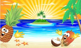 Funny Exotic Fruits Playing on the Beach. Funny Exotic Cartoon Fruits Playing on Exotic Beach Royalty Free Stock Image