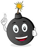 Funny Exploding Bomb Character. A funny cartoon black bomb character smiling with thumbs up, isolated on white background. Eps file available Stock Image