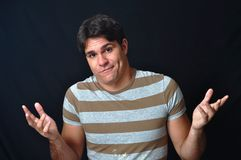 Funny expression. This picture represents a young man with a funny expression Stock Images