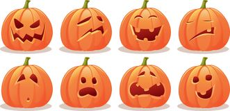 Funny Expressive Halloween Pumpkin Vector Set Stock Image