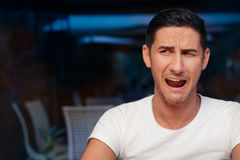 Funny Expressive Man Screaming Desperate Stock Photos