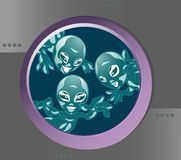 Funny extraterrestrial beings. Several space aliens looking through the porthole ship Royalty Free Stock Images