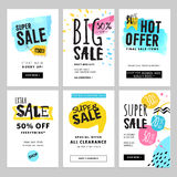 Funny and eye catching sale banners collection. Vector illustrations for social media banners, posters, email and newsletter designs, ads, promotional material Stock Photos