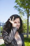 Funny eye woman Stock Image