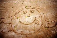 Funny face. Smiley face drawn in sand Royalty Free Stock Image