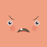 Funny face with angry emotions. Stock Photography
