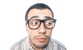 Funny face of bored man over white royalty free stock images