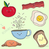 Funny face cartoon breakfast illustration Royalty Free Stock Photography