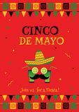 Funny face cinco de mayo red invitation poster. Colorful cinco de mayo festival invitation poster template. Festive red design concept with funny face, cocktail Stock Image