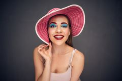 Funny face close up portrait of woman Stock Images