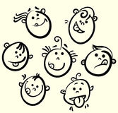 Funny  face collection. Cartoons show tongue. Funny  face collection Royalty Free Stock Photo