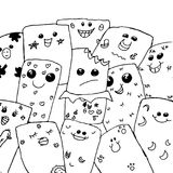 Funny face doodle background. stock illustration