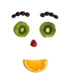 Funny face from fruit. Emotions of the person from cut fruit Stock Image