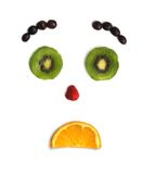 Funny face from fruit. Emotions of the person from cut fruit Stock Photography