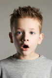 Funny face of kid.handsome little boy Stock Photography