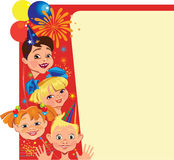 Funny face of kids on celebrate card Royalty Free Stock Image