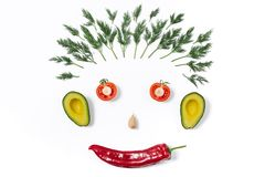 Funny face made of different vegetables royalty free stock photos