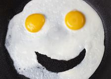 Funny face made of fried eggs in a pan, top view stock image