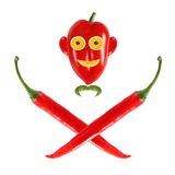 Funny face made ??of pepper as skull and bones Stock Photography