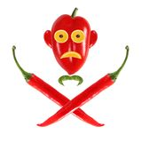 Funny face made ??of pepper as skull and bones Royalty Free Stock Photography