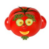 Funny face made of vegetables and fruits Stock Photo
