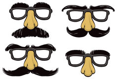 Funny Face Mask. A set of funny face masks with eyebrows, glasses and mustaches Royalty Free Stock Photos