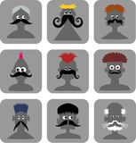 Funny Face Men - Web Icon Set Stock Image