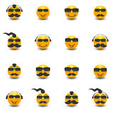 Funny face with a mustache and sunglasses, vector illustration. Stock Image