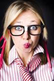 Surprised business woman with thinking expression Royalty Free Stock Images