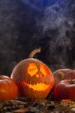 Funny face of pumpkin Stock Photos