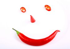 Funny face red hot pepper on a plate Stock Image