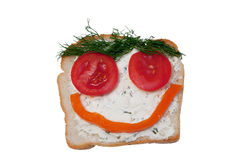 Funny face sandwich stock images