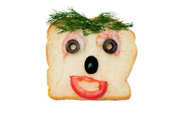 Funny face sandwich Royalty Free Stock Photos