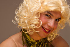 Funny face of a transvestite Stock Photos