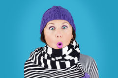 Funny face winter woman Stock Images