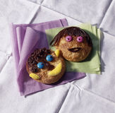 Funny faced cookies Stock Photos