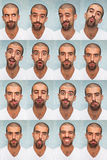 Funny Faces. Youg Man Collection of Expressions Royalty Free Stock Image