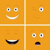 Funny Faces. Vector set of funny cartoon characters with emotions Stock Photos