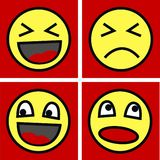 Funny faces. Four different funny faces happy sad angry vector illustration