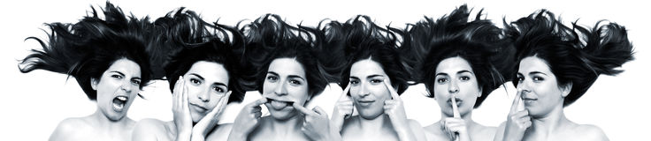 Funny faces. Same woman in six shots mixed in PS Stock Photos