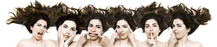 Funny faces. Same woman in six shots mixed in PS Royalty Free Stock Photos