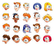 Funny faces. Comic cartoon and vector characters