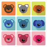 Funny faces animals in flat icons.Baby collection Stock Photography