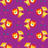 Funny faces of animals on a purple background. Wallpaper for chi. Ldren. Stylized applique, embroidery cute animals monkey, lion, giraffe. Vector seamless vector illustration