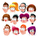 Funny faces. Cartoon vector isolated characters Royalty Free Stock Images