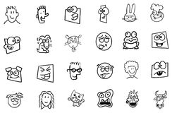 Funny faces from cartoons Stock Photo