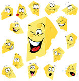 Funny Faces on Cheese Slices. Cartoon faces on wedges of swiss cheese Royalty Free Stock Image