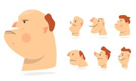 Funny faces, different expressions of emotions. Characters people avatars. Cartoon comic caricature. Stock Images