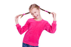Funny Faces. Girl plays the fool isolated on white Stock Photo