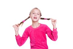 Funny Faces. Girl plays the fool isolated on white Royalty Free Stock Photo